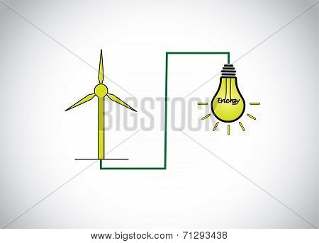 Green Wind Mill Turbine Generating Power Energy & Glowing Yellow Light Bulb Natural Renewable Energy