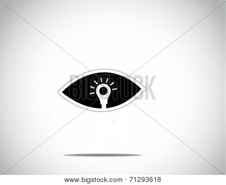 Black Human Eye With Bright White Glowing Light Bulb Concept Art