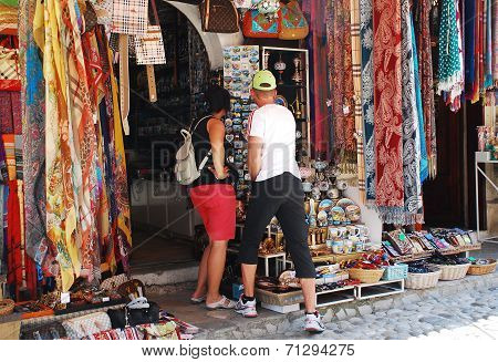 Tourists Shopping In Mostar