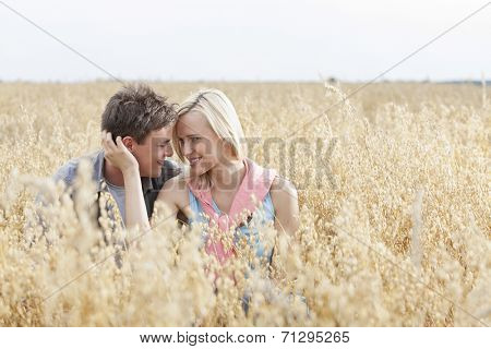 Romantic young couple looking at each other while relaxing amidst field