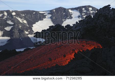 Molten lava flows