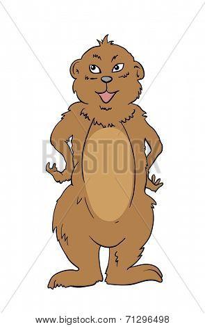 Cartoon Vector Illustration of Marmot Animal