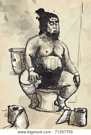 Sumo Fighter On The Toilet Bowl - Converted Vector