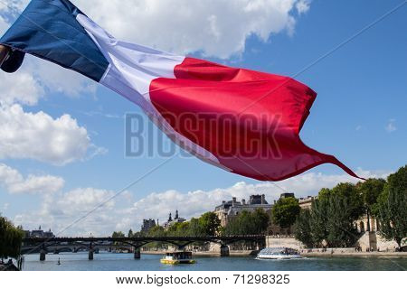 French Tricolour Flag And Paris Seine
