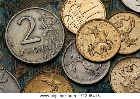 Coins of Russia. Saint George killing the Dragon depicted in Russian kopek coins and Russian two roubles coin.