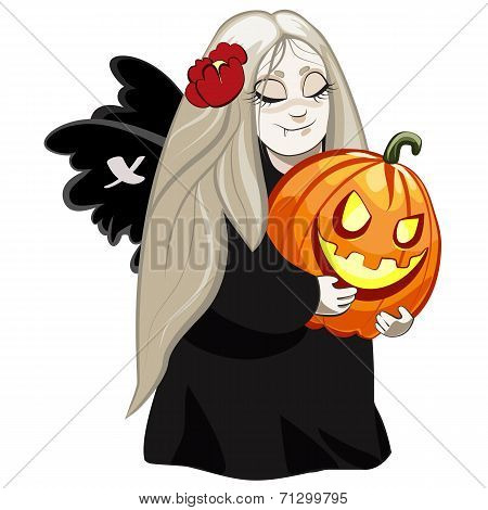 vampire girl with pumpkin