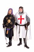 stock photo of templar  - Knight Templar and Muslim woman posing isolated in white