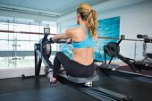 stock photo of physique  - Rear view of a young woman working on fitness machine at the gym - JPG