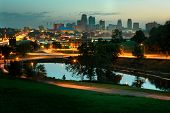 picture of kansas  - A horizontal image of downtown Kansas City Missouri at sunrise - JPG