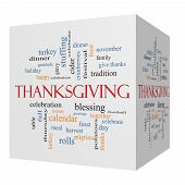 stock photo of turkey dinner  - Thanksgiving 3D cube Word Cloud Concept with great terms such as dinner harvest holiday turkey and more - JPG
