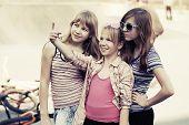image of playground school  - Group of school girls on the playground  - JPG