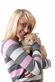 picture of fondling  - The happy young woman with a small amusing kitten on a white background - JPG