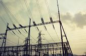 stock photo of substation  - Electrical substation on the sunset background - JPG