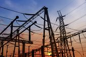 pic of substation  - Electrical substation on the sunset background - JPG
