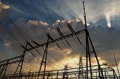 image of substation  - Electrical substation on the sunset background - JPG