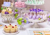 stock photo of buffet  - Delicious sweet buffet with cupcakes - JPG