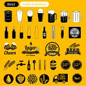 foto of drawing beer  - vector beer icons set - JPG