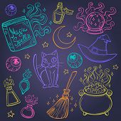 stock photo of witch ball  - Halloween witches attributes doodles set - JPG