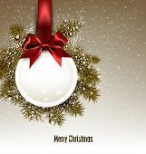 foto of bowing  - Christmas gift card with red ribbon and satin bow - JPG