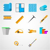pic of nail-cutter  - Set of colored vector icons with tools for working with linoleum on white background - JPG