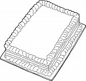 pic of fancy cake  - Fancy sheet cake with copy space in black outline - JPG