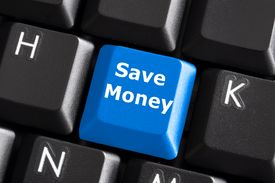 image of save money  - save money for investment concept with a blue button on computer keyboard - JPG