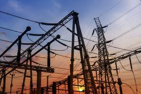 stock photo of substation  - Electrical substation on the sunset background - JPG