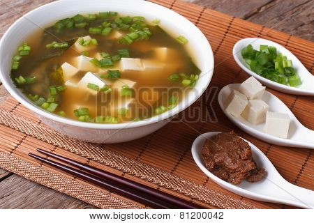 Japanese Miso Soup And Ingredients Close-up. Horizontal