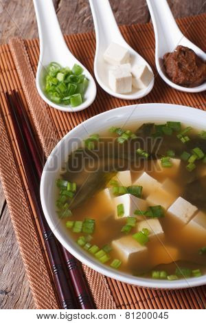 Japanese Miso Soup And Ingredients Close-up. Vertical