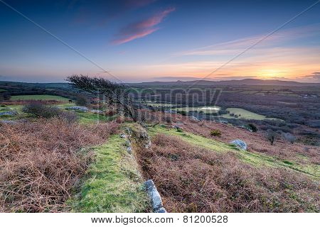 Sunset At Helman Tor In Cornwall
