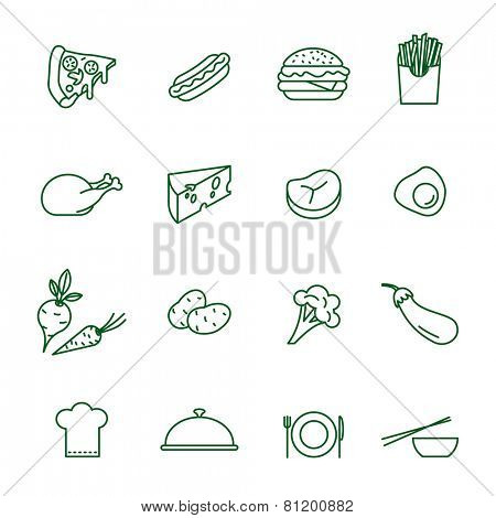 Foods thin line vector icon set