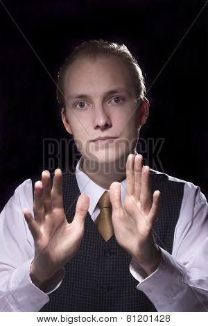 Portrait Of Business Man Gesturing