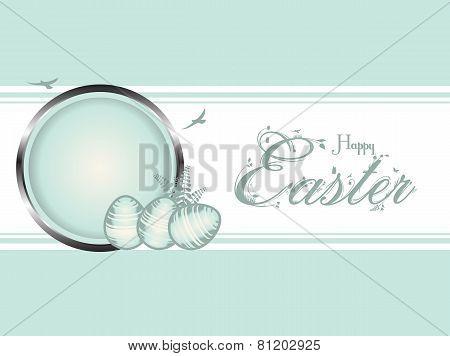 Easter Eggs Pastel Green Border