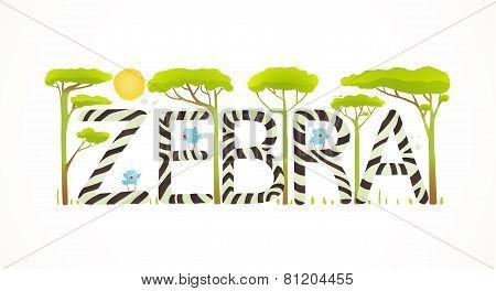 African Zebra Animals Fun Lettering Cartoon