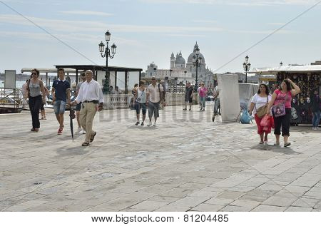 Tourists Walking In Venice