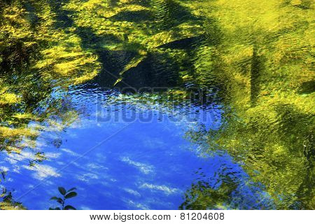 Summer Blue Green Colors Water Reflection Abstract Wenatchee River Washington