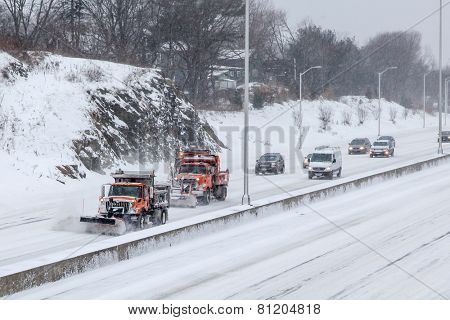 NORWALK,CT - JANUARY 27:  Plow truck on I-95 after winter storm in Norwalk on January 27, 2015
