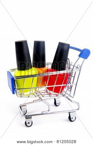 trolley with fingernail enamel