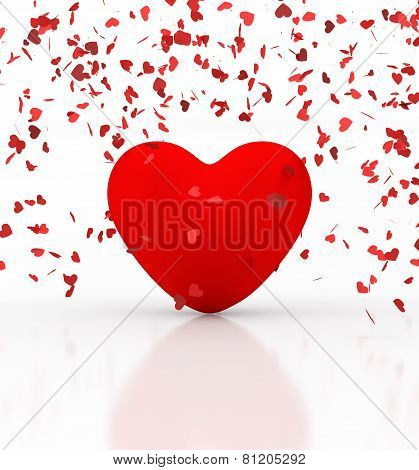 Heart under confetti