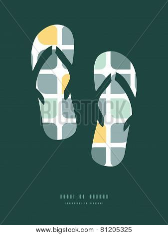 Vector abstract gray yellow rounded squares flip flops silhouettes pattern frame