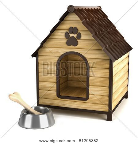 Kennel. Doghouse And Bone In Bowl