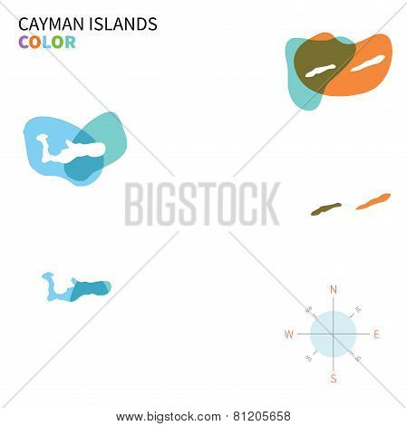 Abstract vector color map of Cayman Islands with transparent paint effect.