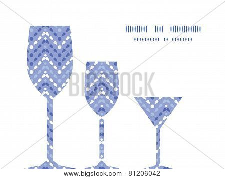 Vector purple drops chevron three wine glasses silhouettes pattern frame