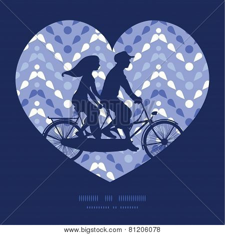 Vector purple drops chevron couple on tandem bicycle heart silhouette frame pattern greeting card