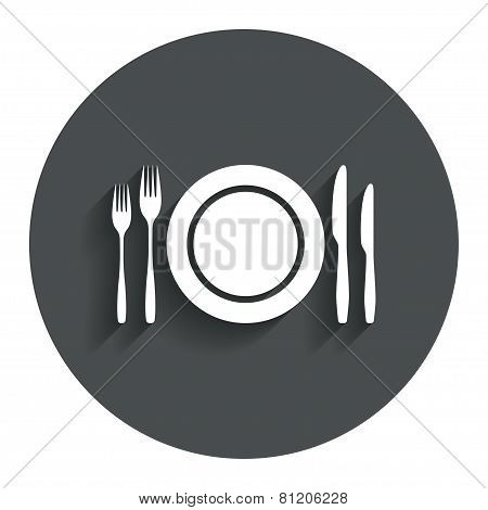 Plate dish with forks and knifes.