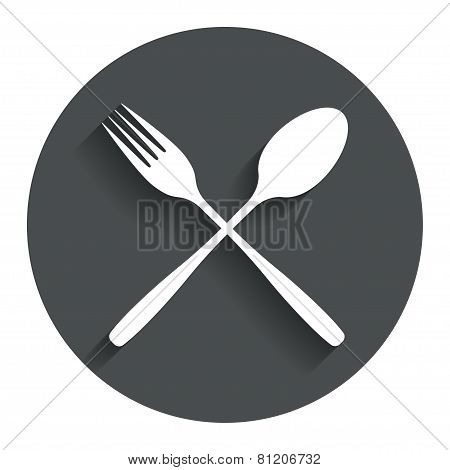 Eat sign icon. Cutlery symbol. Fork and spoon.