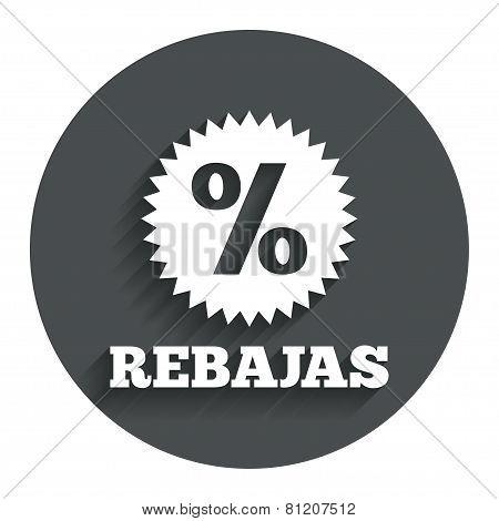 Rebajas - Discounts in Spain sign icon. Star.
