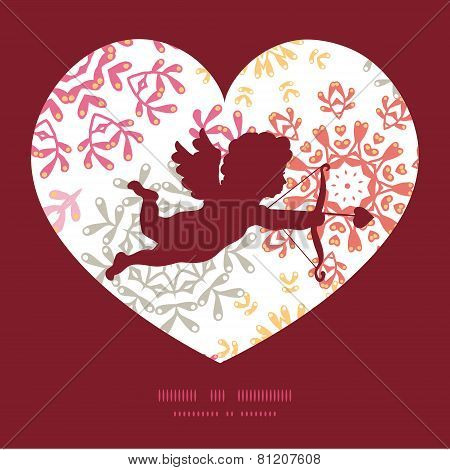 Vector folk floral circles abstract shooting cupid silhouette frame pattern invitation greeting card
