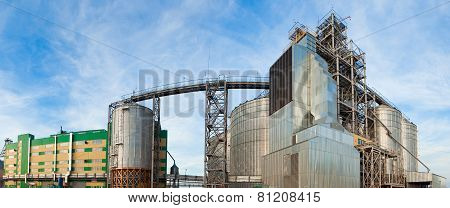 Towers of grain drying enterprise at sunny day