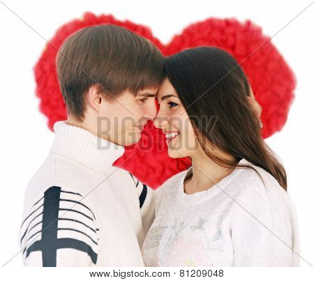 Couple On The Background Of A Large Heart